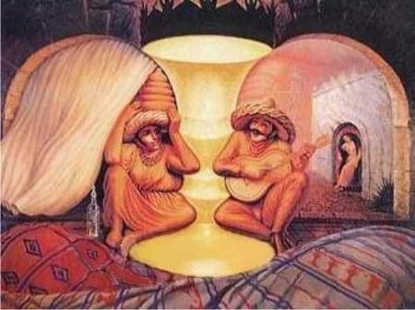 Mind Blowing Optical illusions: Old man and Woman Optical illusion