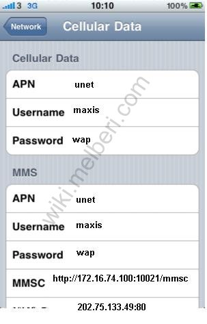 network apn and enter the following details 3g apn settings