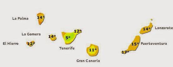 bajan temperaturas canarias 2 y 8 febrero 2015