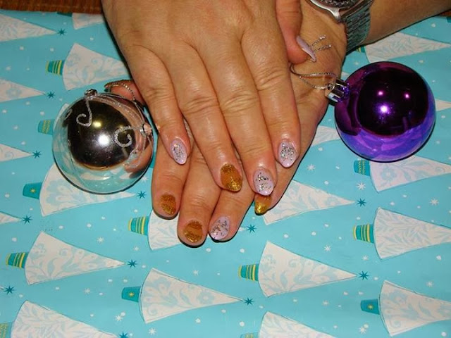 LED polish color up; lavendars and cinnamon bronze with silver reflector glitz & fine gold french and reverse french acrylic nail art design