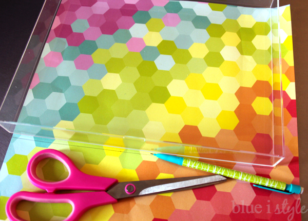 DIY acrylic tray lined with scrapbook paper