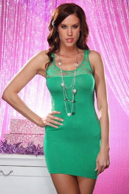 GREEN SEXY KNIT FLORAL LACE SCOOPNECK NECKLACE MINI DRESS