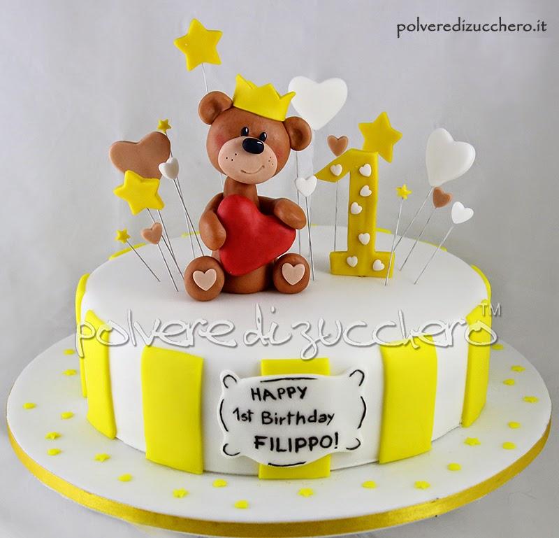 torta orsetto con corocina in bianco e giallo per il 1° compleanno di un bimbo