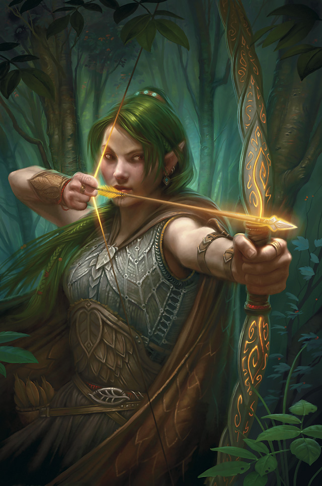 I TRE CEDRI (una storia da raccontare). Elfa+arciera+capelli+lunghi+e+verdi