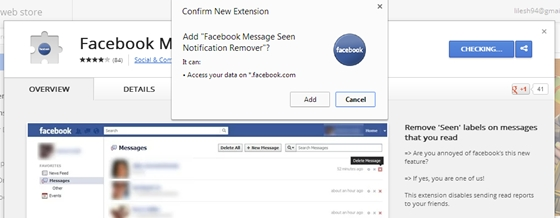 Disable facebook Seen Feature from messenger chrome extension
