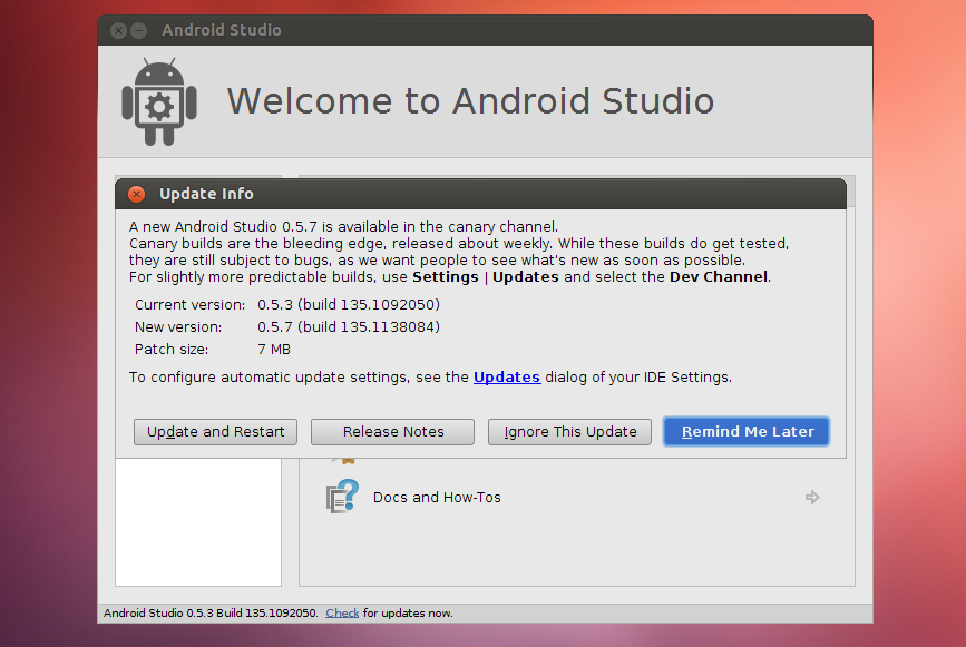Android Studio update Ubuntu
