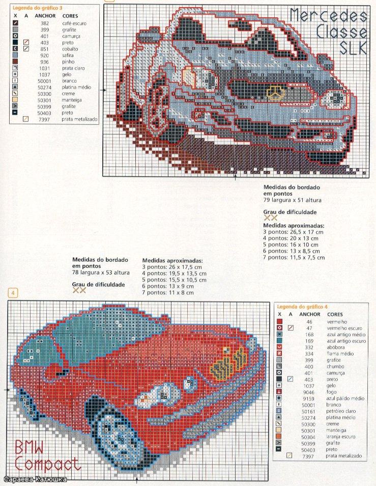 Автомобиль схема вышивки крестом 92