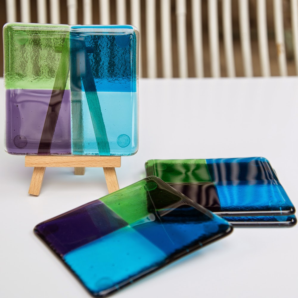sassy glass studio, fused glass, coasters, knoxville, art, fused glass coasters, etsy