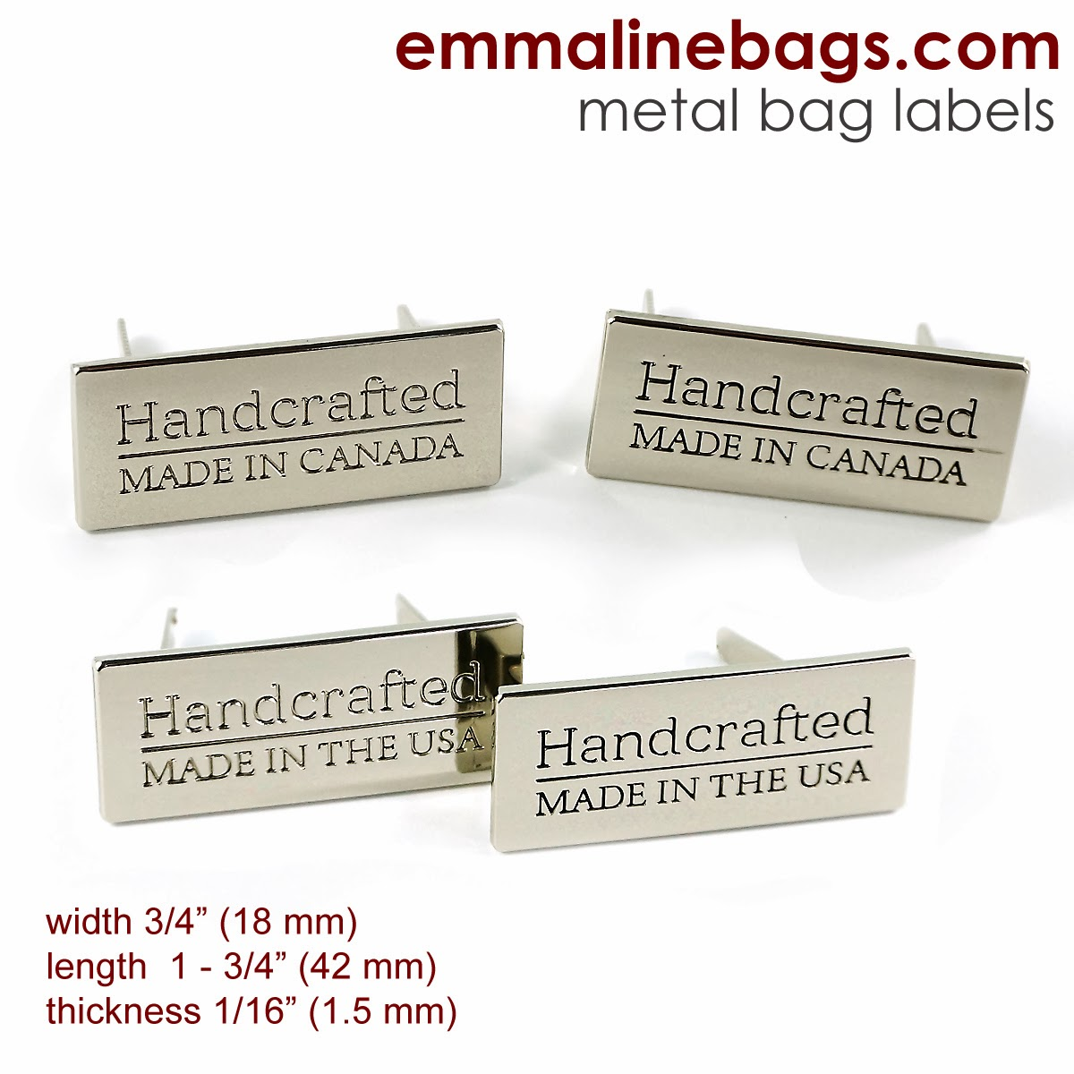 Metal logos for bags and totes