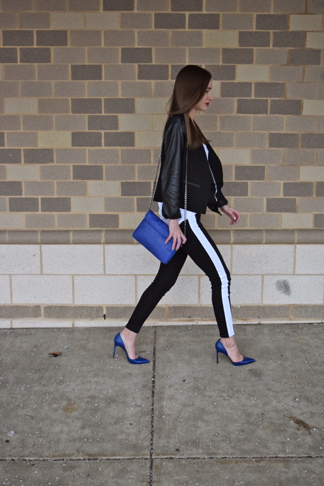 Wearing Cobalt Leather Tayler Manolo Blahniks, Loft Leather Sleeve Blazer, Express Barcelona Cami, Black and White Hudson Tuxedo Jeans