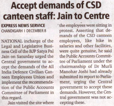 Accept demands of CSD canteen staff: Jain to Centre