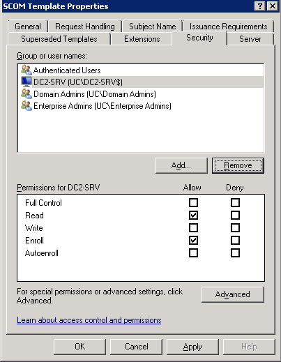 Kevin greene it blog using internal certificates with scom on certificate authority computer in the security tab of the scom template properties you now need to click on the computer name and then select the yelopaper