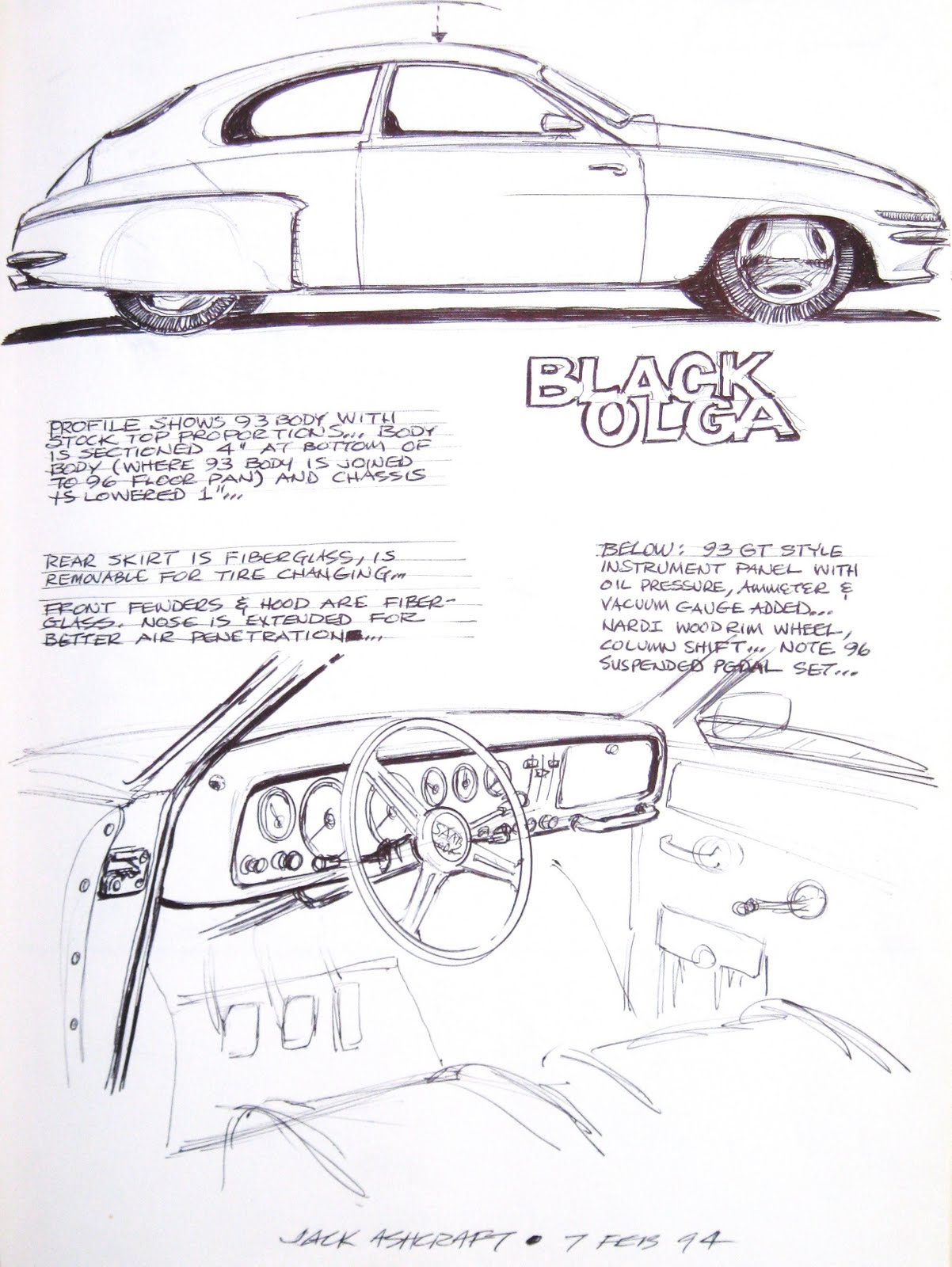 Design of car jack - The Bottom 4 Inches Of The Doors And Fenders Were More Dust Than Metal So Jack Sketched Up Some Ideas For A Chopped And Channeled Street Rod
