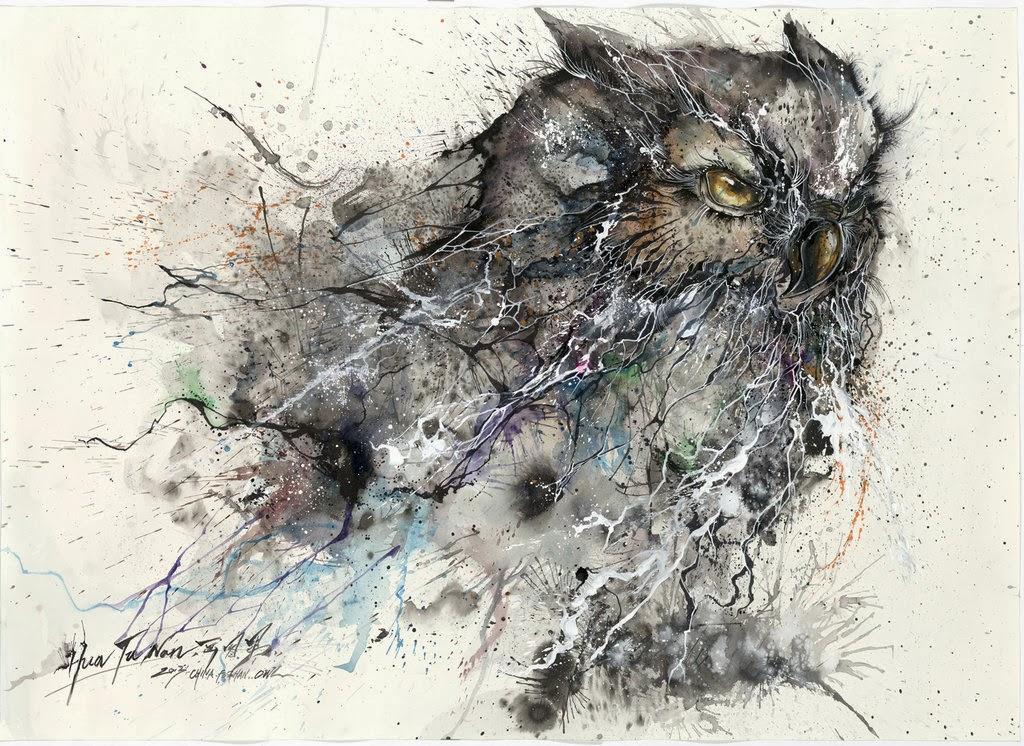 09-Owl-1-Hua-Tunan-huatunan-Melting-&-Running-Ink-Drawings-www-designstack-co
