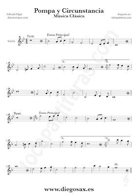 Tubepartitura Pompa y Circunstancia de Edward Elgar partitura de Violín canción de Música Clásica