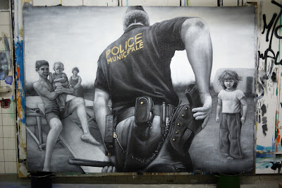 french graffiti artist - hd black and white - realistic