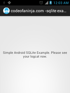 Android SQLite Example (Version 2) - Run