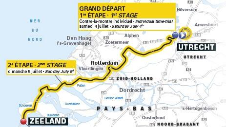 A map of stages 1 and 2 of Le Tour de France 2015 (photo credit: www.radiostadmontfoort.nl).