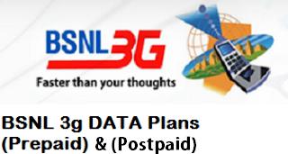 BSNL, 3g data plans, Prepaid, Postpaid, New plans,