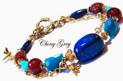 unique bracelet handmade with lapis, turquoise, and carnelian