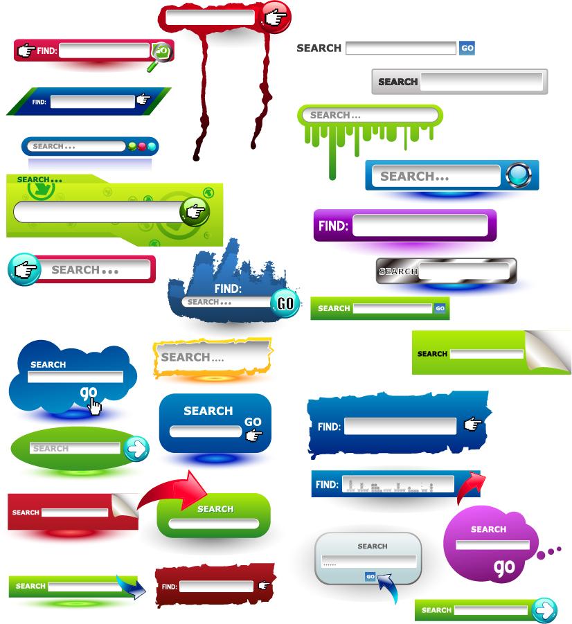 ナビゲーション ボタンと検索窓のデザイン見本 web navigation button to search box イラスト素材2