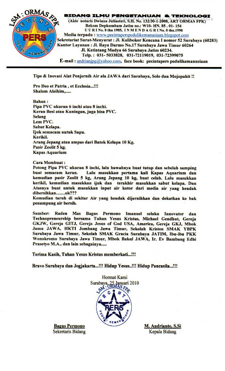 Tips & Inovasi Jawa tentang Penjernih Air dari Surabaya , Solo dan Mojopahit Jawa Jaya...!!!