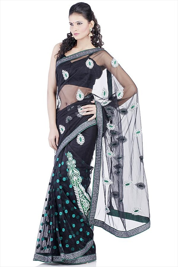 Black Net Saree new indian