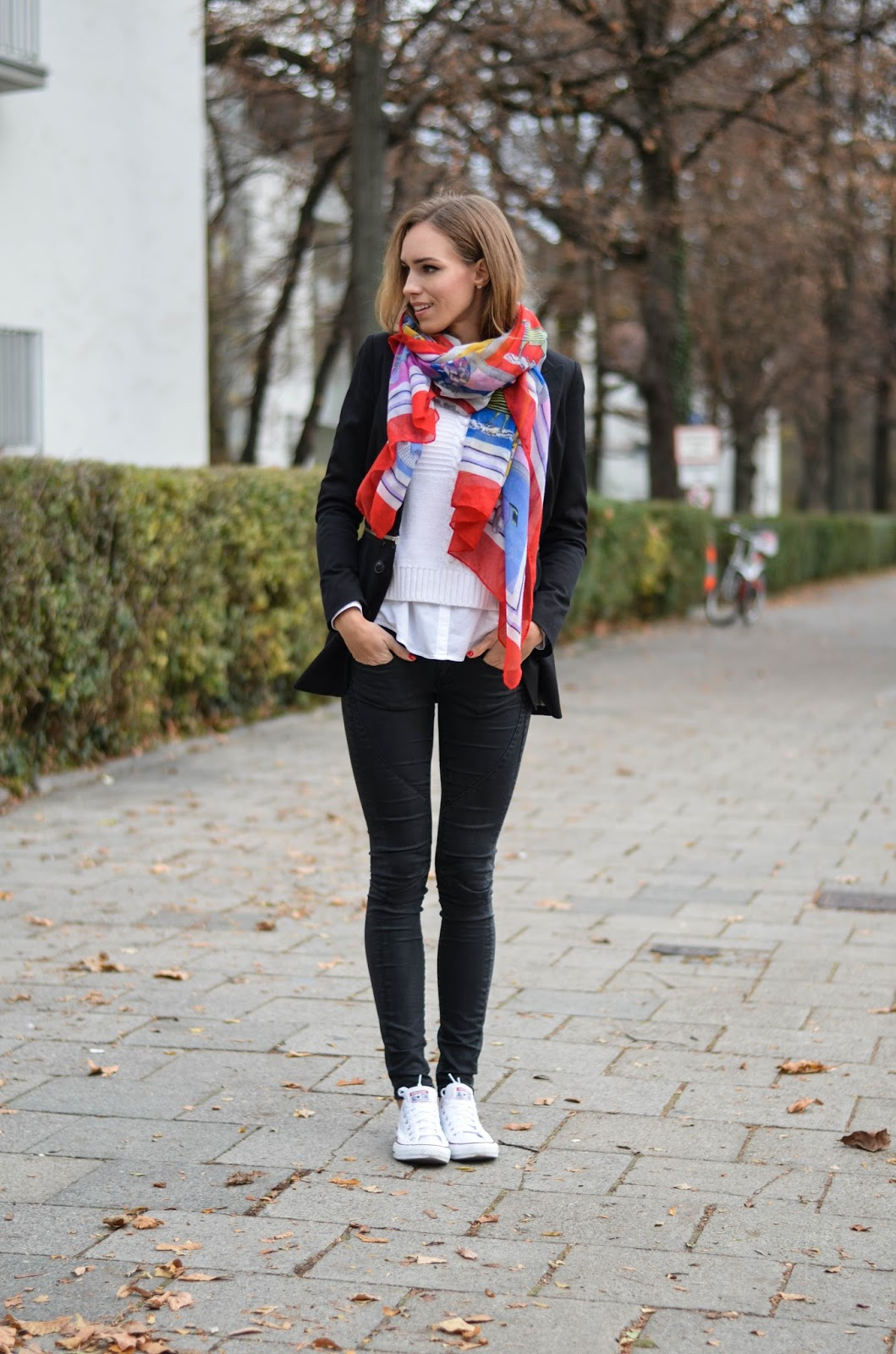 kristjaana mere black blazer big red scarf white sneakers casual fall outfit