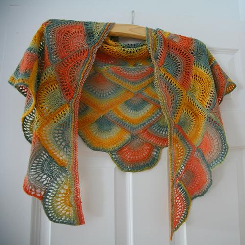 Daily Knitting Patterns Panda Silk Dk Fan Shawl