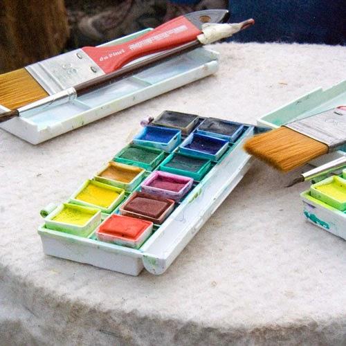 préparation de l'aquarelle