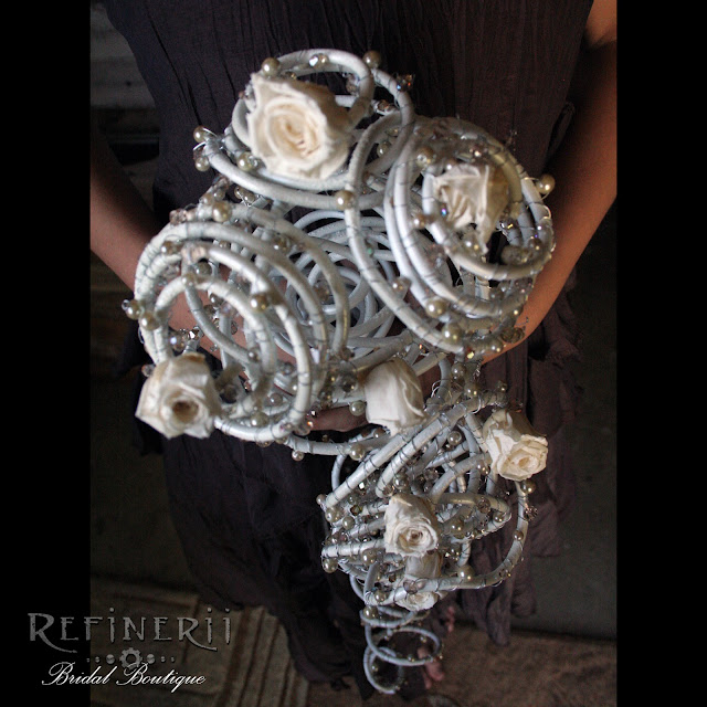 trailing metal bouquet white goth