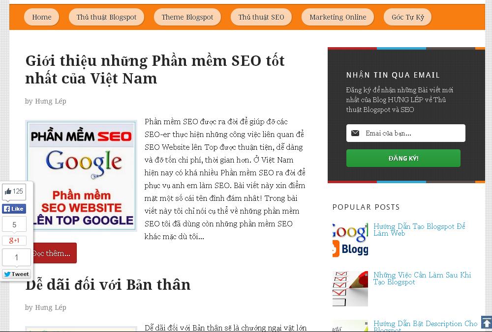 Responsive Blogger Template Chuẩn SEO