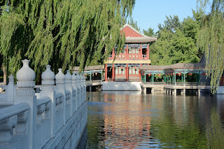 Lake and pavilion at Daguanyuan - A Dream of Red Mansions