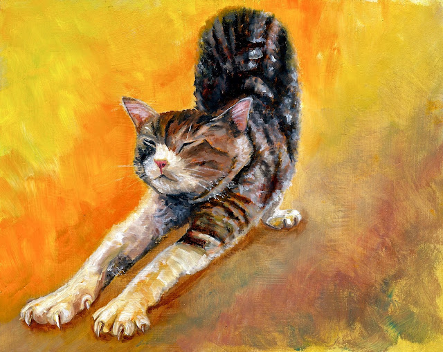 oil painting of a cat in the sun, pet portrait by karen