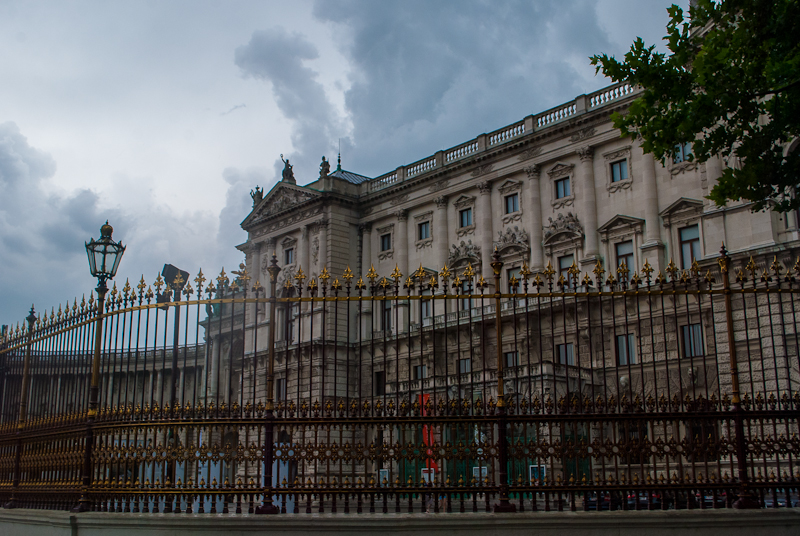Arc in Vienna, Austria and its architecture in the rain