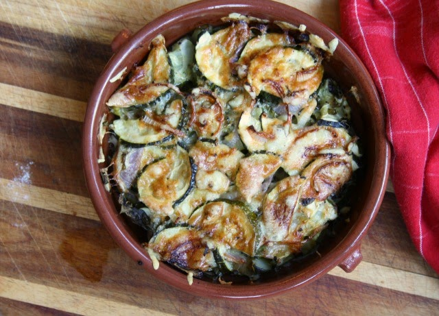 Garlic Baked Zucchini with Cheese and Red Onion