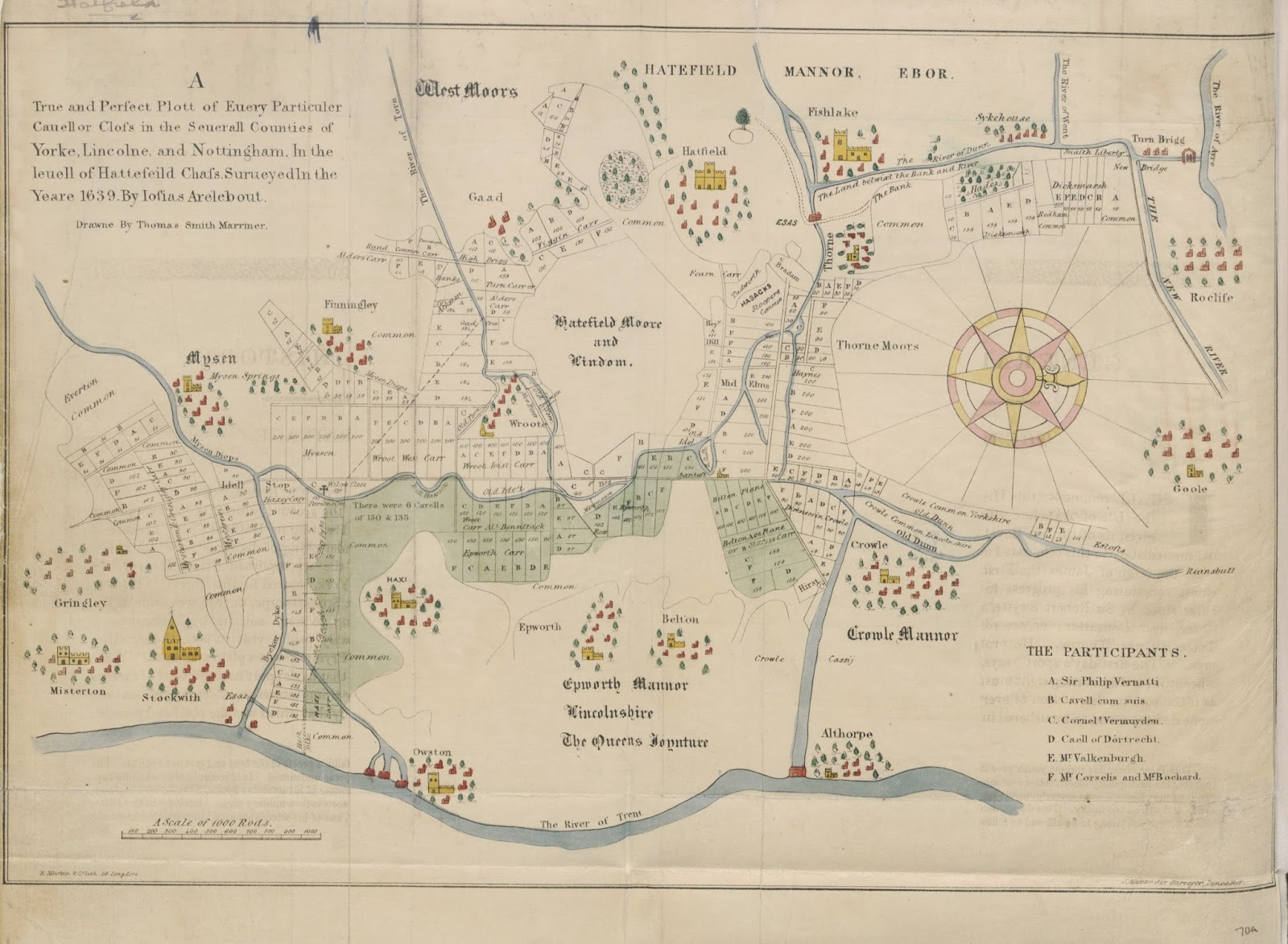 Old map of Isle of Axholme showing rivers and drains