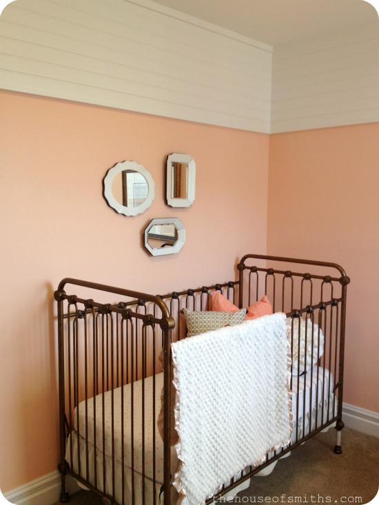 vintage baby nursery - peach gold and white - brass crib