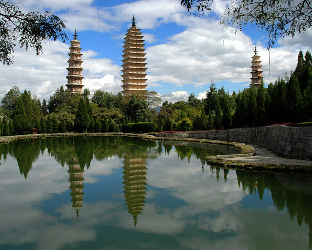 The Three Pagodas in  Dali, Yunnan