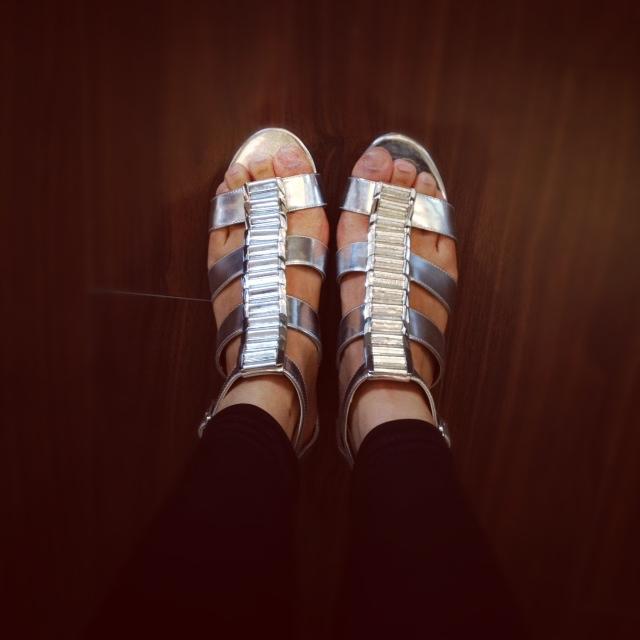 BCBGeneration Metallic Gladiator Sandals