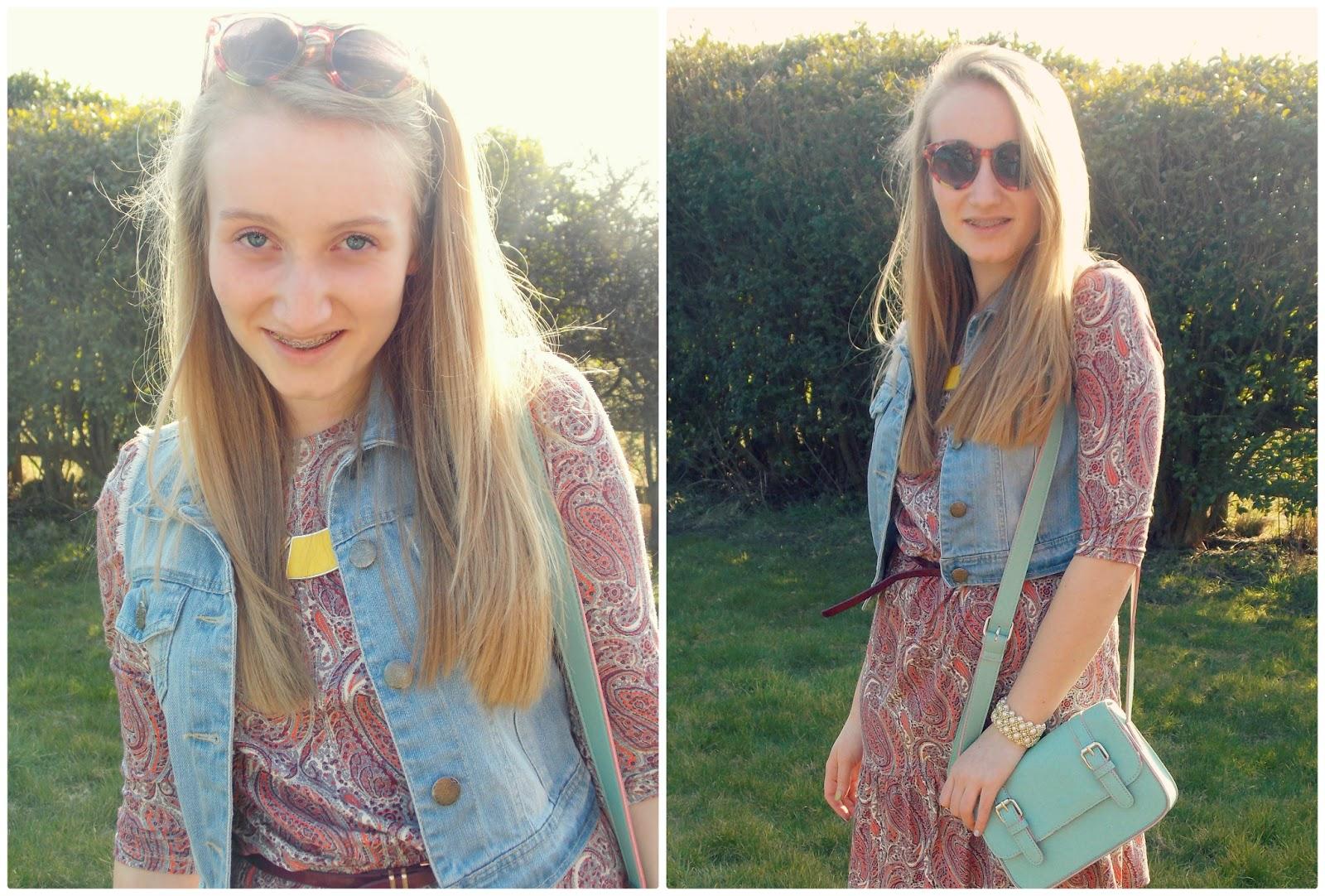 Blondies Style Fix, UK Fashion Blogger Paisley Dress, Satchel, Denim Jacket, Sun Glasses