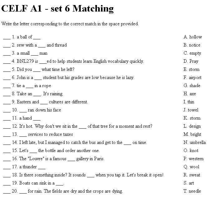 Matching Test Question Ex les on matching worksheet template