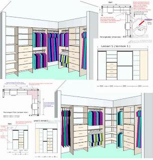 cara desain lemari pakaian sudut model L