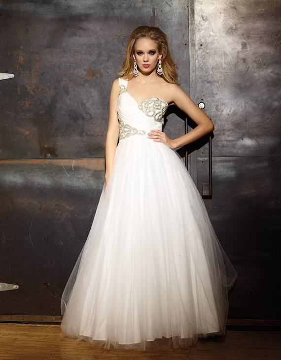 Tulle One-Shoulder Sweetheart A-line Long Prom Dress