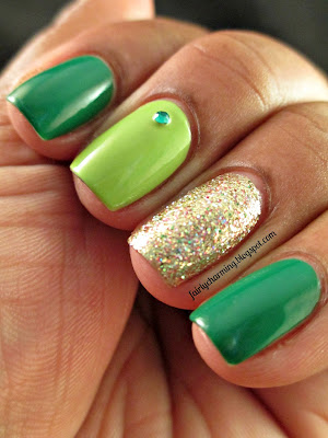 Revlon Posh, Color Club Gingerbread, Sally Hansen Green With Envy, nail crystals, nails, nail art, nail design, mani