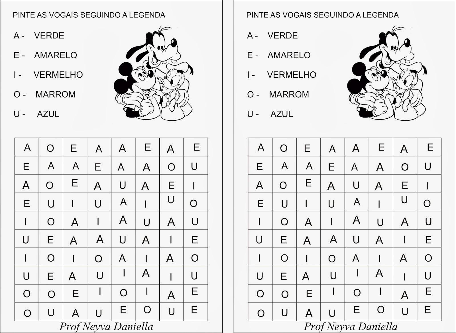 Atividades com as vogais - Pinte as vogais seguindo a legenda