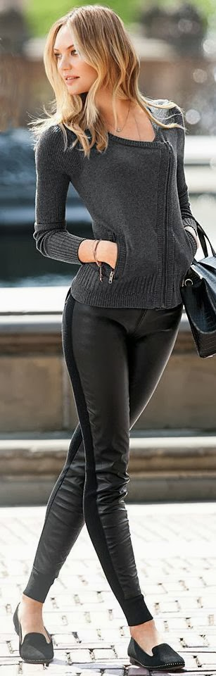 Black Leather Pant And Twist Sweater