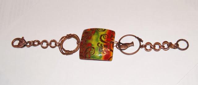 Браслет из полимерной глины, браслет ручной работы, браслет медный, украшение ручной работы. украшение из полимерной глины, красивый браслет
