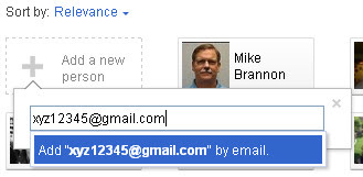 Google+ Circles: Type e-mail address