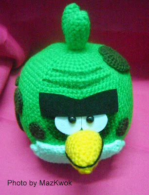 Crochet big green angry bird